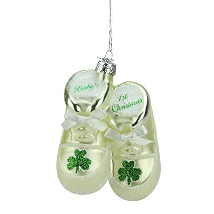 Kurt Adler Irish Baby Shoes Glass Ornament | Putti Christmas Decorations