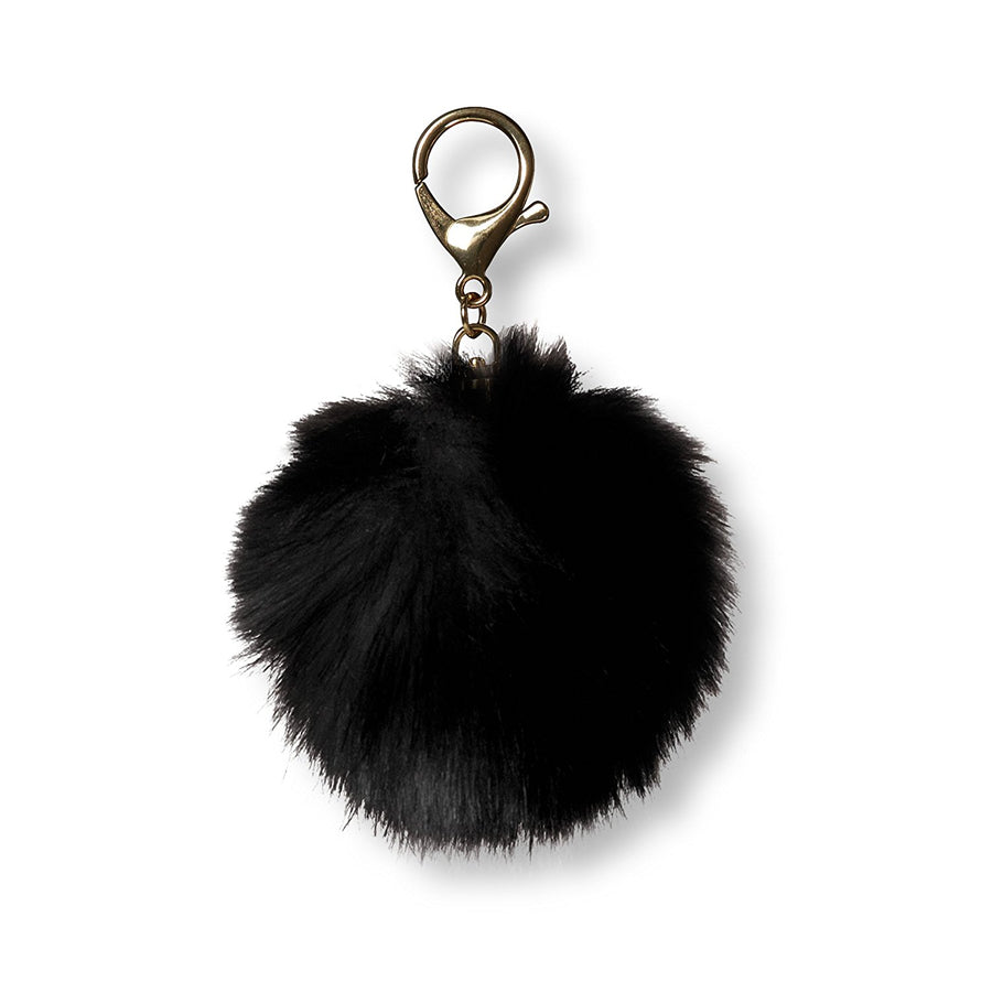 Fur Pom Pom Key Chain - Charcoal