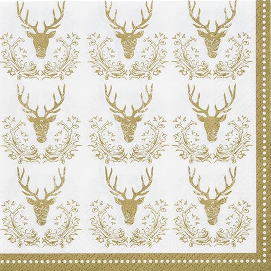 Party Porcelain Gold Stag Luncheon Napkins