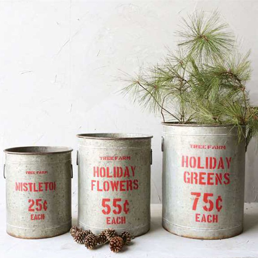 """Holiday Greens"" Galvanized Buckets"