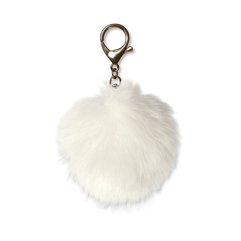 Fur Pom Pom Key Chain - White, CRG-CR Gibson, Putti Fine Furnishings