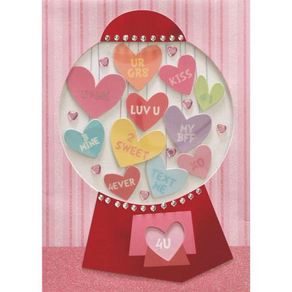 Gum Ball Machine Hearts Valentine Card