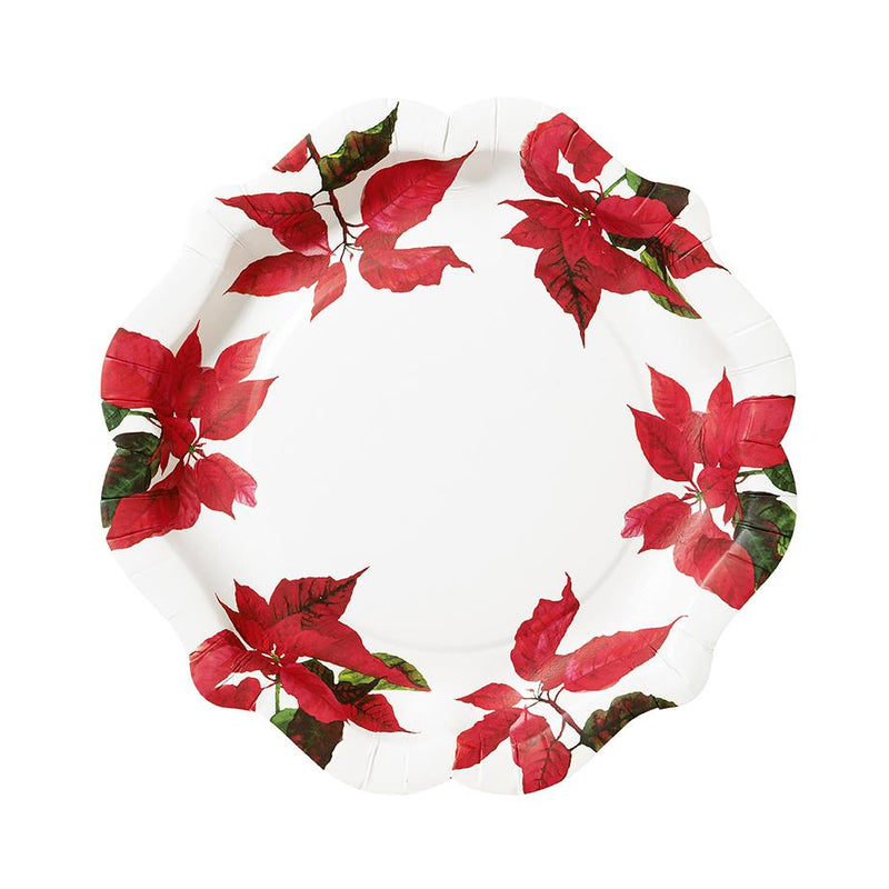"Talking Tables Botanical ""Poinsettia"" Christmas Paper Plates 