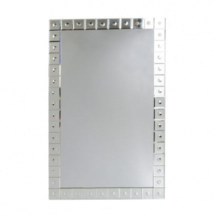 "Wall Mirror with Etched Dots-Mirror-BI-Bethel International-Small 19"" w x 30"" h-Putti Fine Furnishings"