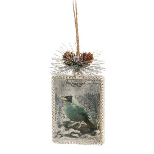 Vintage Style Postcard with Bird Glass Ornament