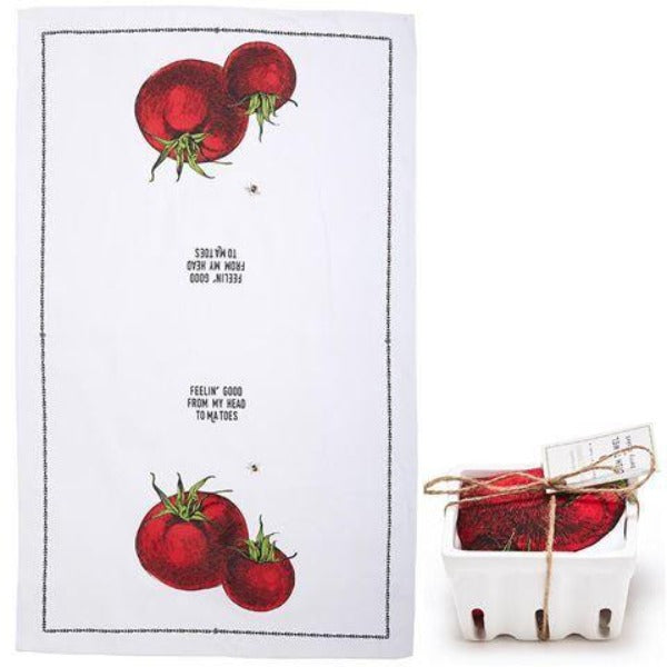 """Farm to Table"" Dish Towel in Berry Basket - Tomato"