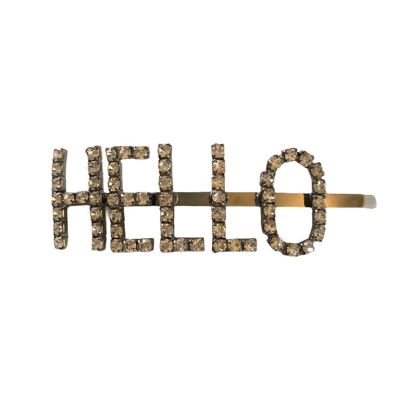 "Diamante ""Hello"" Hair Clip"
