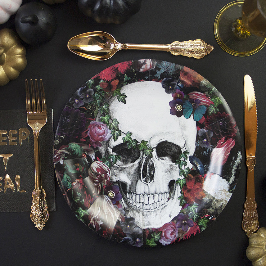 Baroque Skeleton Paper Plates