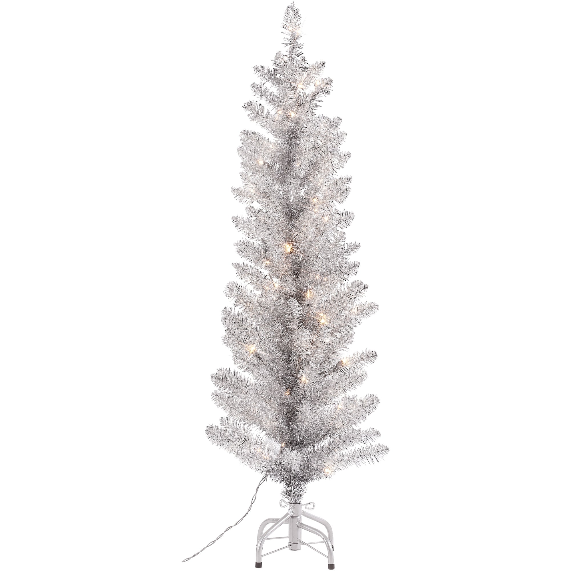 Vintage Style Silver Tinsel Tree - Pre Lit 4' | Putti Christmas