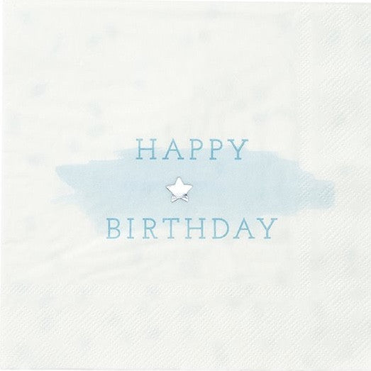 """We Heart Blue"" Happy Birthday Napkins - Large"