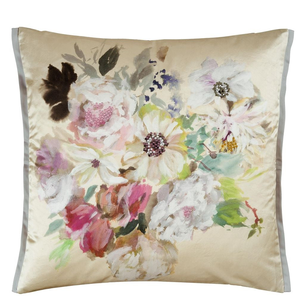 Palissy Camellia Decorative Pillow