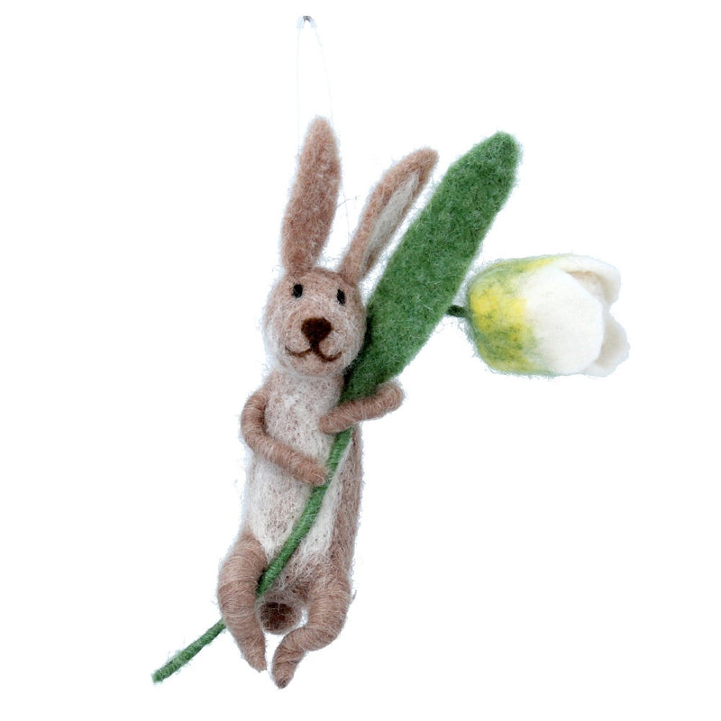 Brown Bunny with Tulip Felt Ornament | Putti Decorations