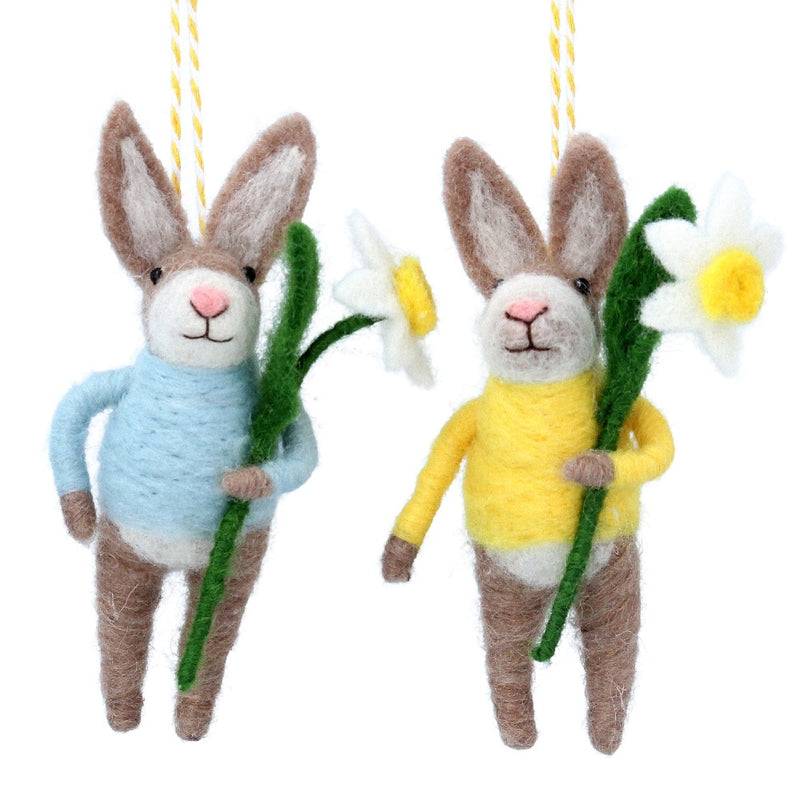 Bunny with Blue Sweater and Daffodil Felt Ornament