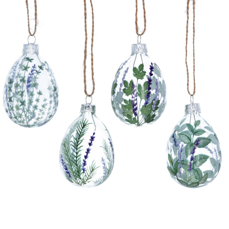 Herbs and Lavender Glass Egg Ornament | Putti Decorations