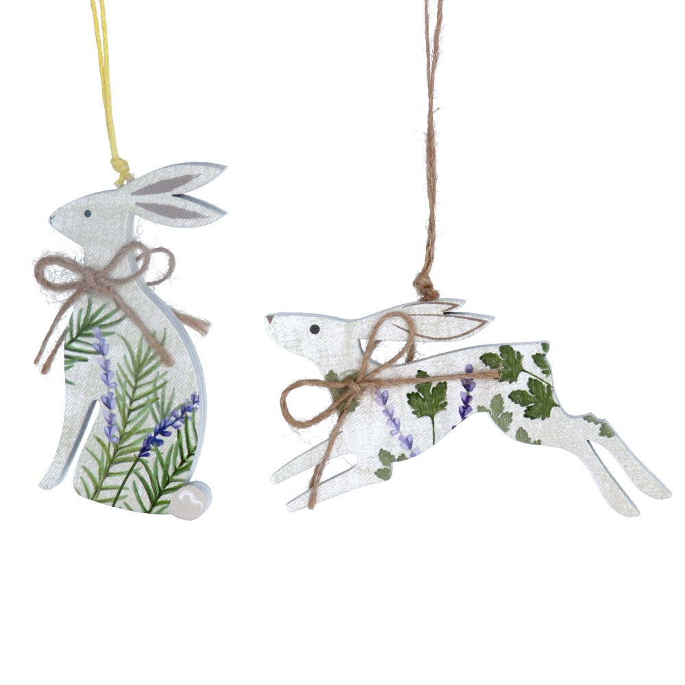 Gisela Graham Herbs Hare Wood Ornament | Putti Decorations