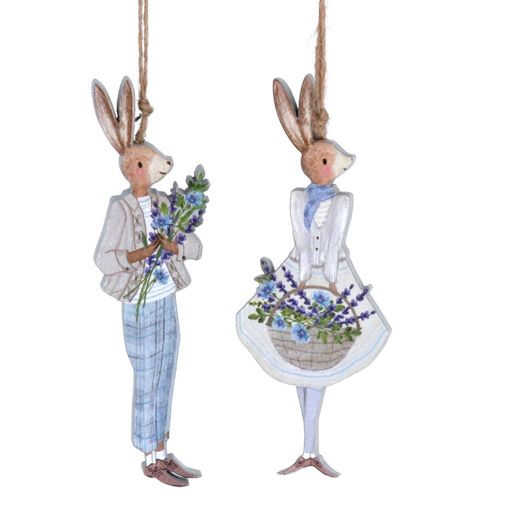 Herbs Dressed Bunny Wood Ornament  | Putti Decorations