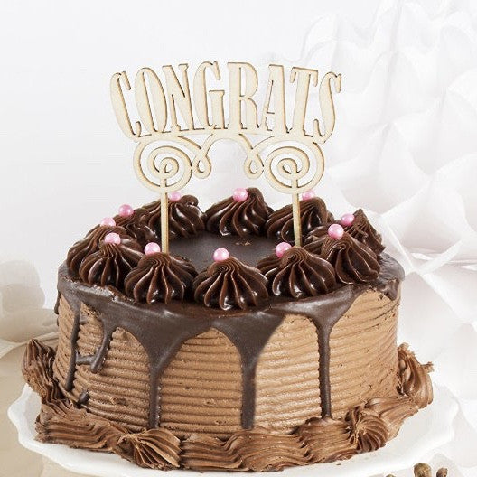 "Birchwood ""Congrats"" Cake Topper, PP-Party Partners - Estelle Gifts, Putti Fine Furnishings"