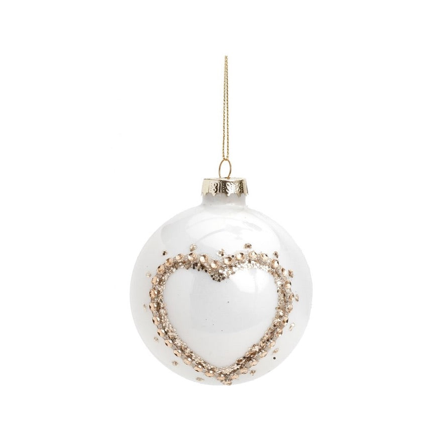 Glossy White with Gold Heart Glass Ball Ornament | Putti Christmas Canada