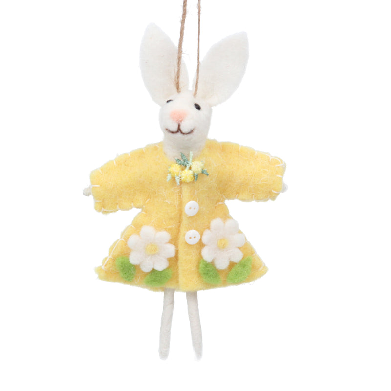 Bunny with Yellow Coat Felt Ornament  | Putti Decorations