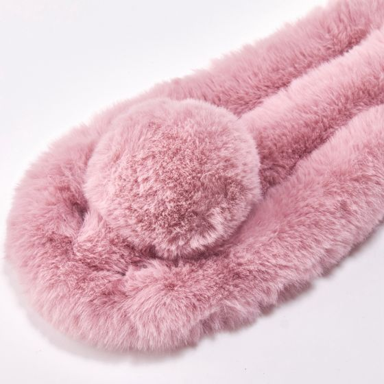 Faux Fur Collar with Pom Pom - Pink | Putti Fine Fashions