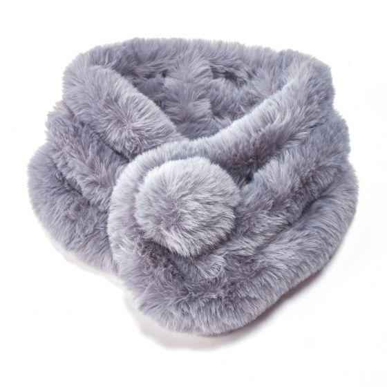 Faux Fur Collar with Pom Pom - Grey | Putti Fine Fashions