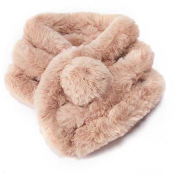 Faux Fur Collar with Pom Pom - Beige | Putti Fine Fashions