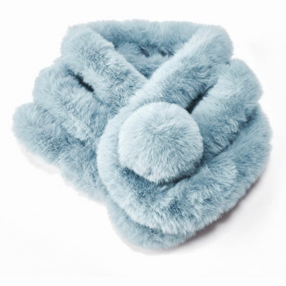 Faux Fur Collar with Pom Pom - Light Blue | Putti Fine Fashions