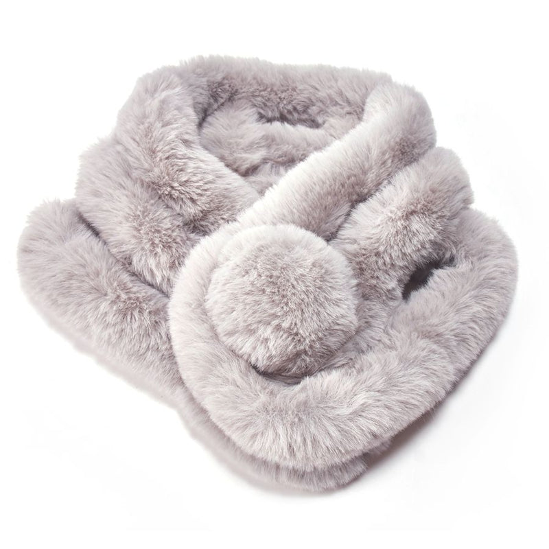 Faux Fur Collar with Pom Pom - Silver | Putti Fine Fashions