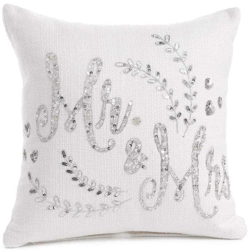 Mr & Mrs Silver Embroidered Cushion | Putti Fine Furnishings Canada