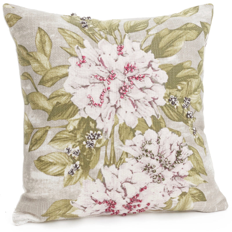 Floral Cushion with Embroidery | Putti Fine Furnishings Canada