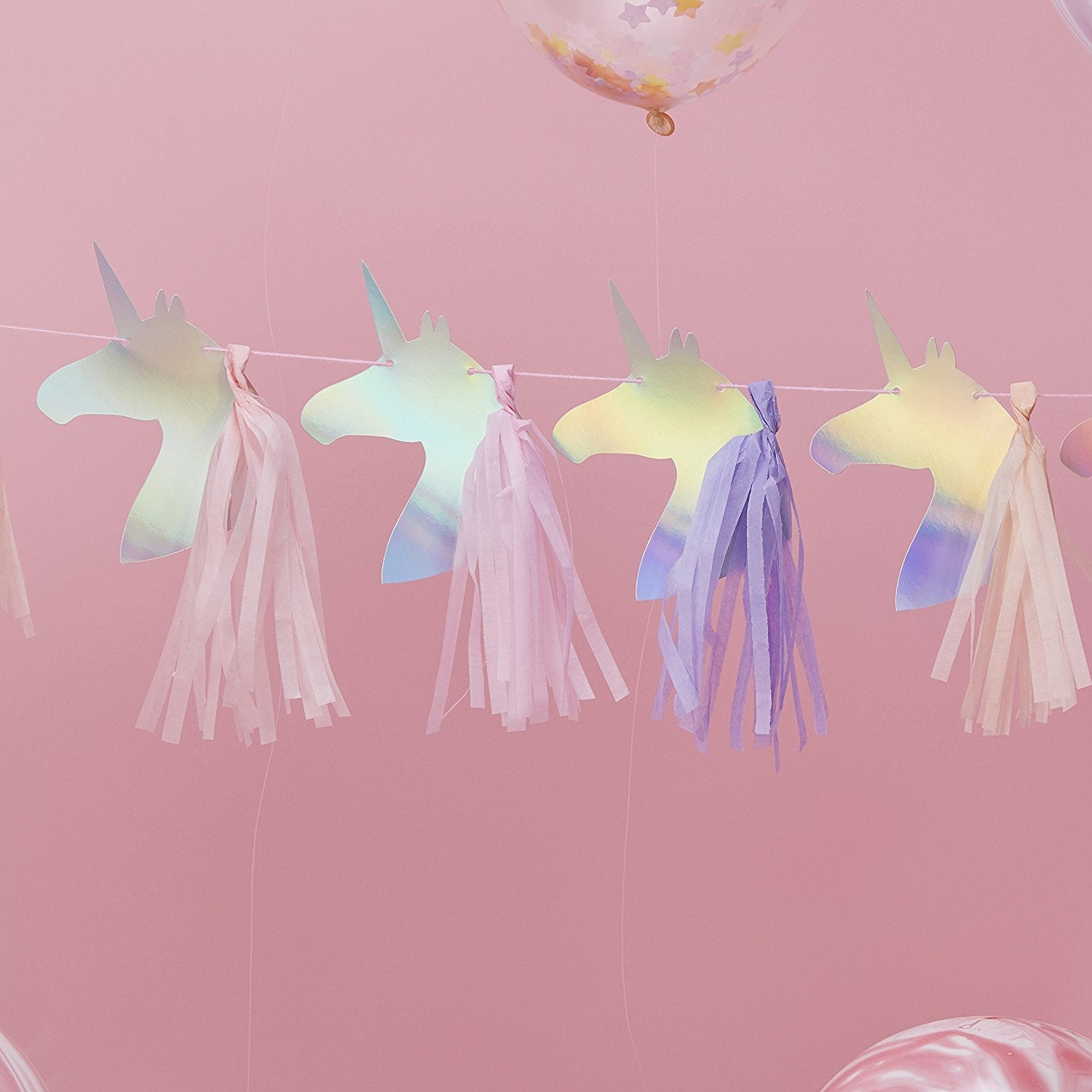 """Make a Wish"" Iridescent Foiled Unicorn Tassel Garland"