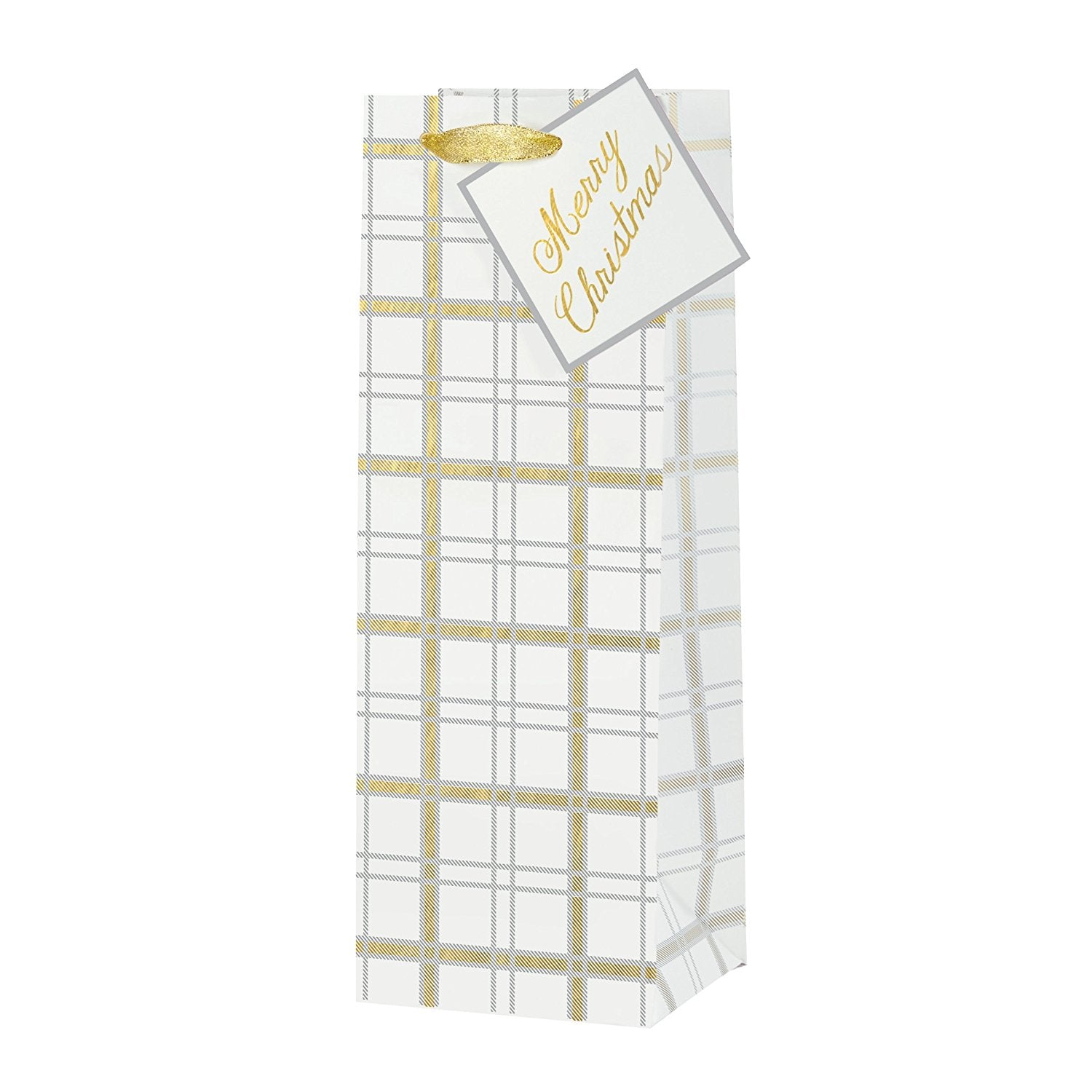 Embellished Bottle Gift Bag - Mixed Metallic Plaid, CRG-CR Gibson, Putti Fine Furnishings
