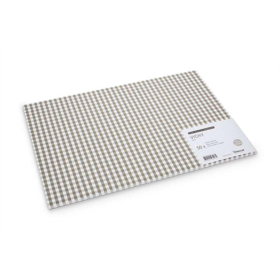 """Vichy"" Beige Gingham Paper Placemats"