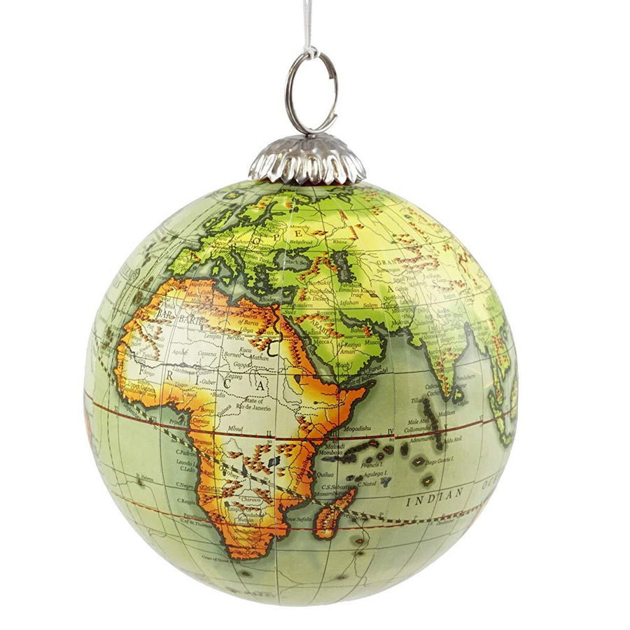 Old World Map Globe Hanging Christmas Ornament