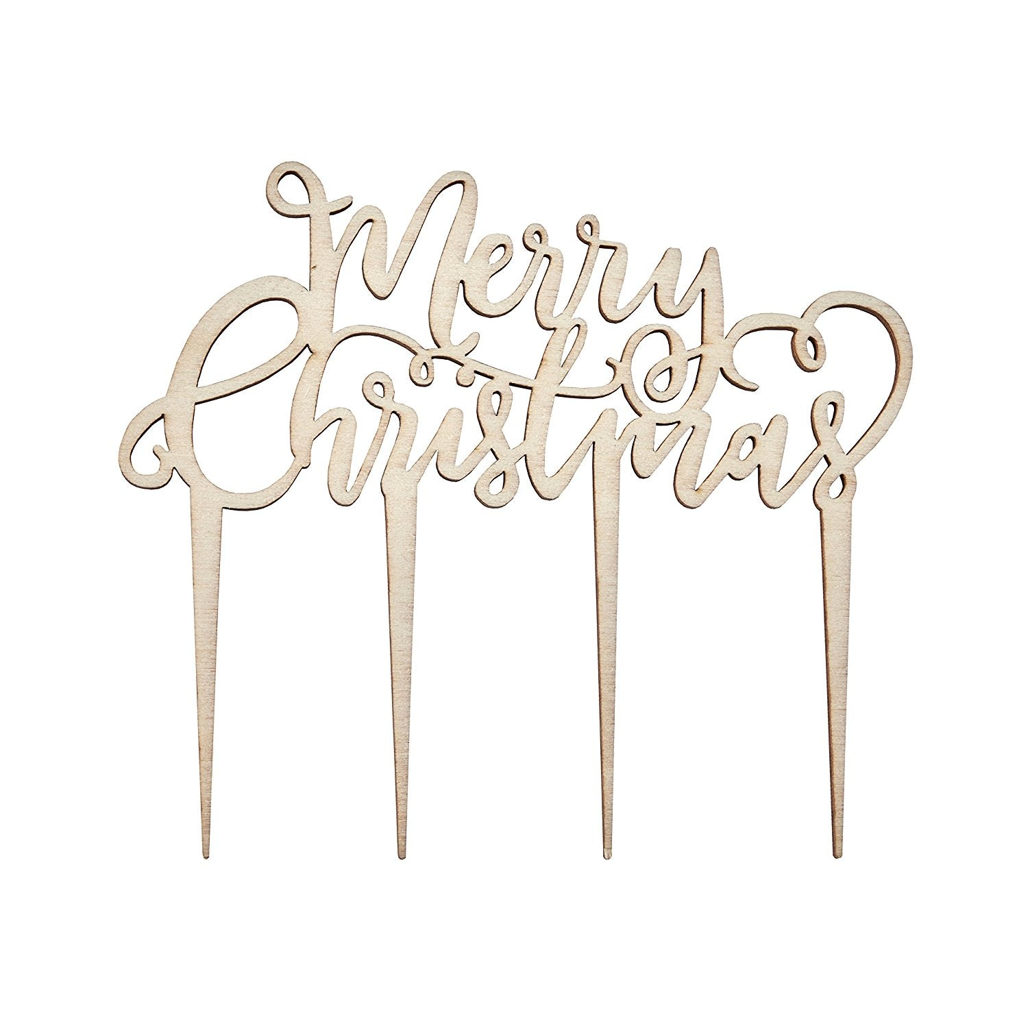 """Merry Christmas"" Wood Cake Topper"