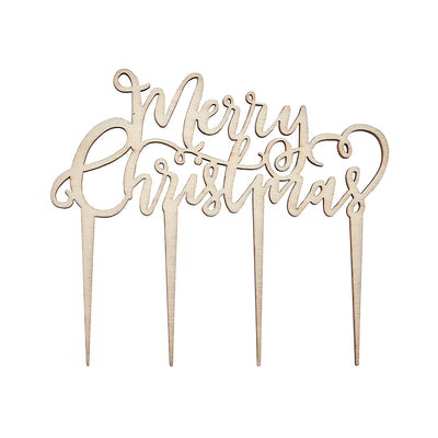 """Merry Christmas"" Wood Cake Topper, GR-Ginger Ray UK, Putti Fine Furnishings"
