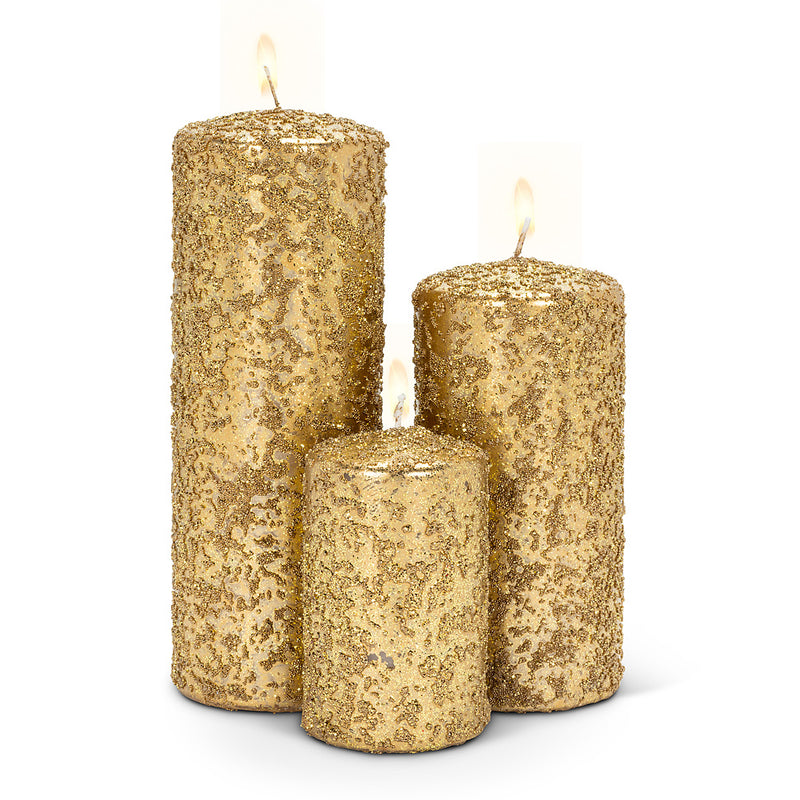 Gold Icy Candle - Large | Putti Christmas Celebrations