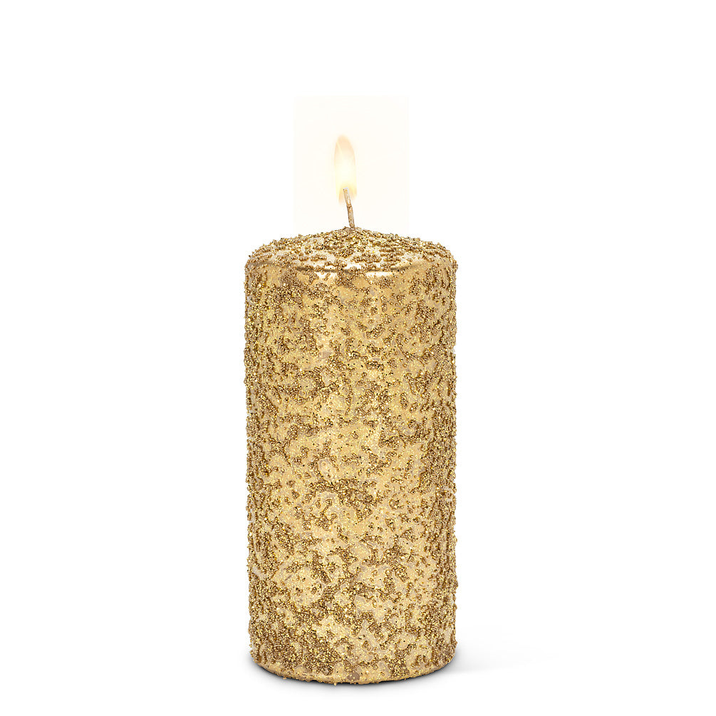 Gold Icy Candle - Medium | Putti Christmas Celebrations