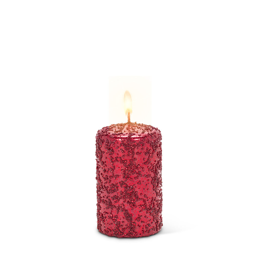 Small Red Icy Candle -  Putti Christmas Celebrations