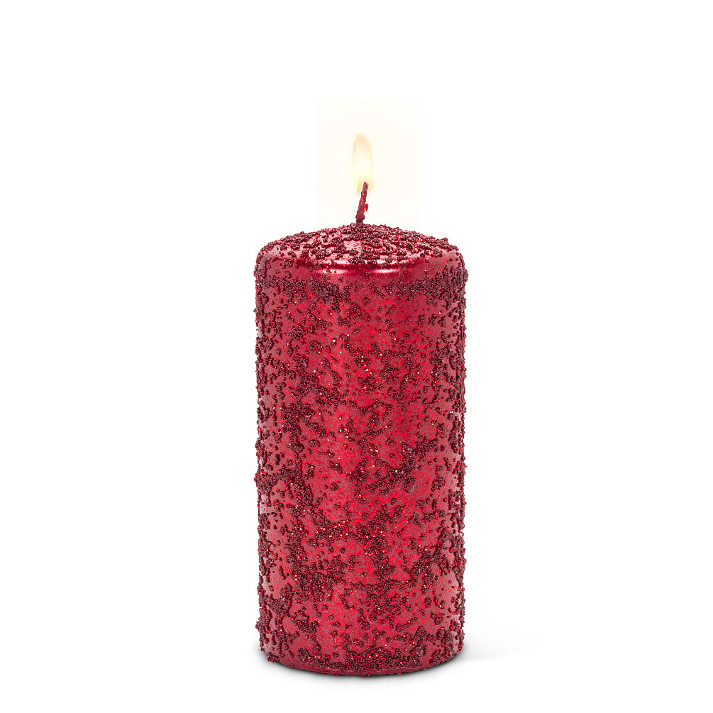 Red Icy Candle - Medium | Putti Christmas Celebrations