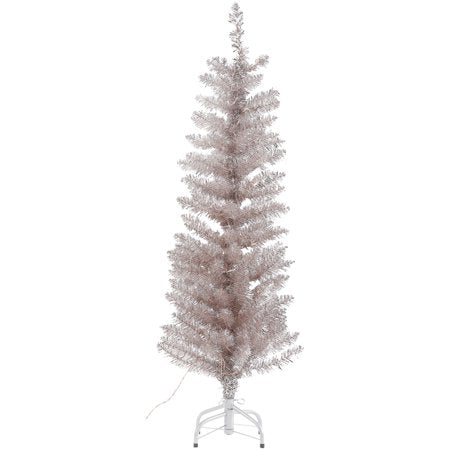 Vintage Style Rose Gold Tinsel Tree - Pre Lit 4' | Putti Christmas