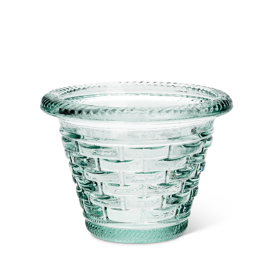 Small Taper Woven Aqua Glass Pot