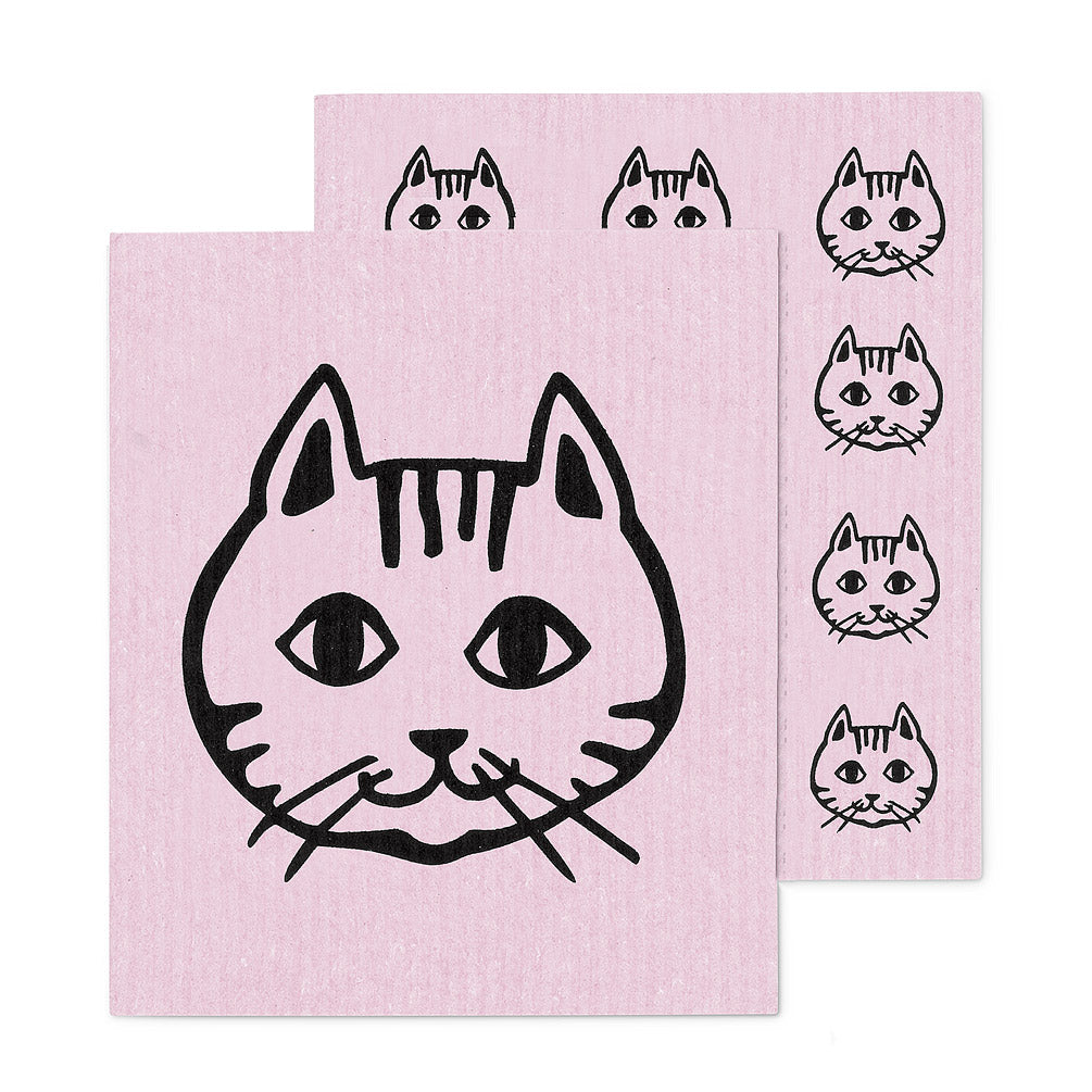 Pink Cat Face Swedish Dish Cloths - Set of 2 | Putti Fine Furnishings