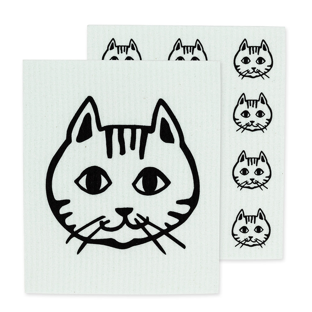Cat Face Swedish Dish Cloth - set of 2 | Putti Fine Furnishings Canada