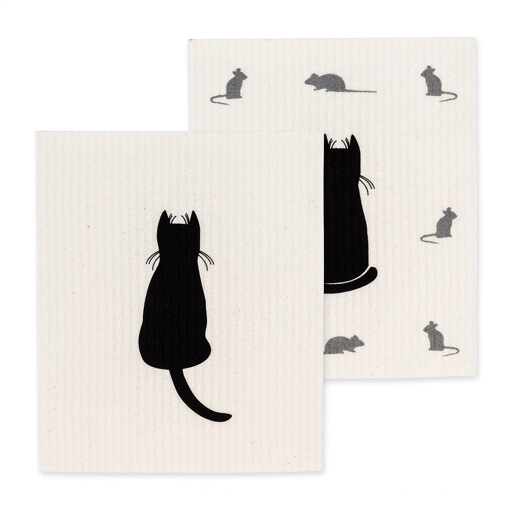 Cat & Mice Swedish Dish Cloth - set of 2  | Putti Fine Furnishings Canada