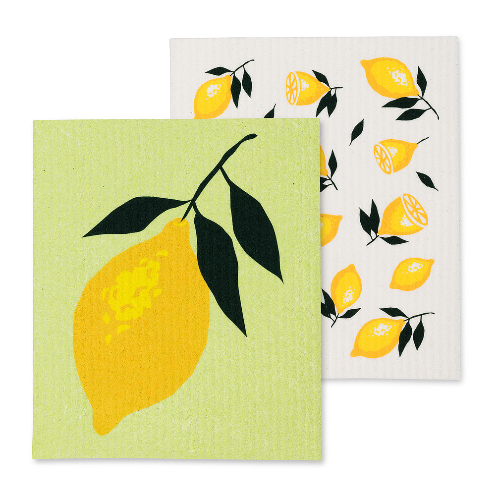 Lemons Swedish Dish Cloths-Set of 2 | Putti Fine Furnishings