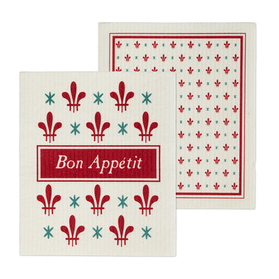 Bon Appetit Swiss Dish Cloths-Set of 2 | Putti Fine Furnishings