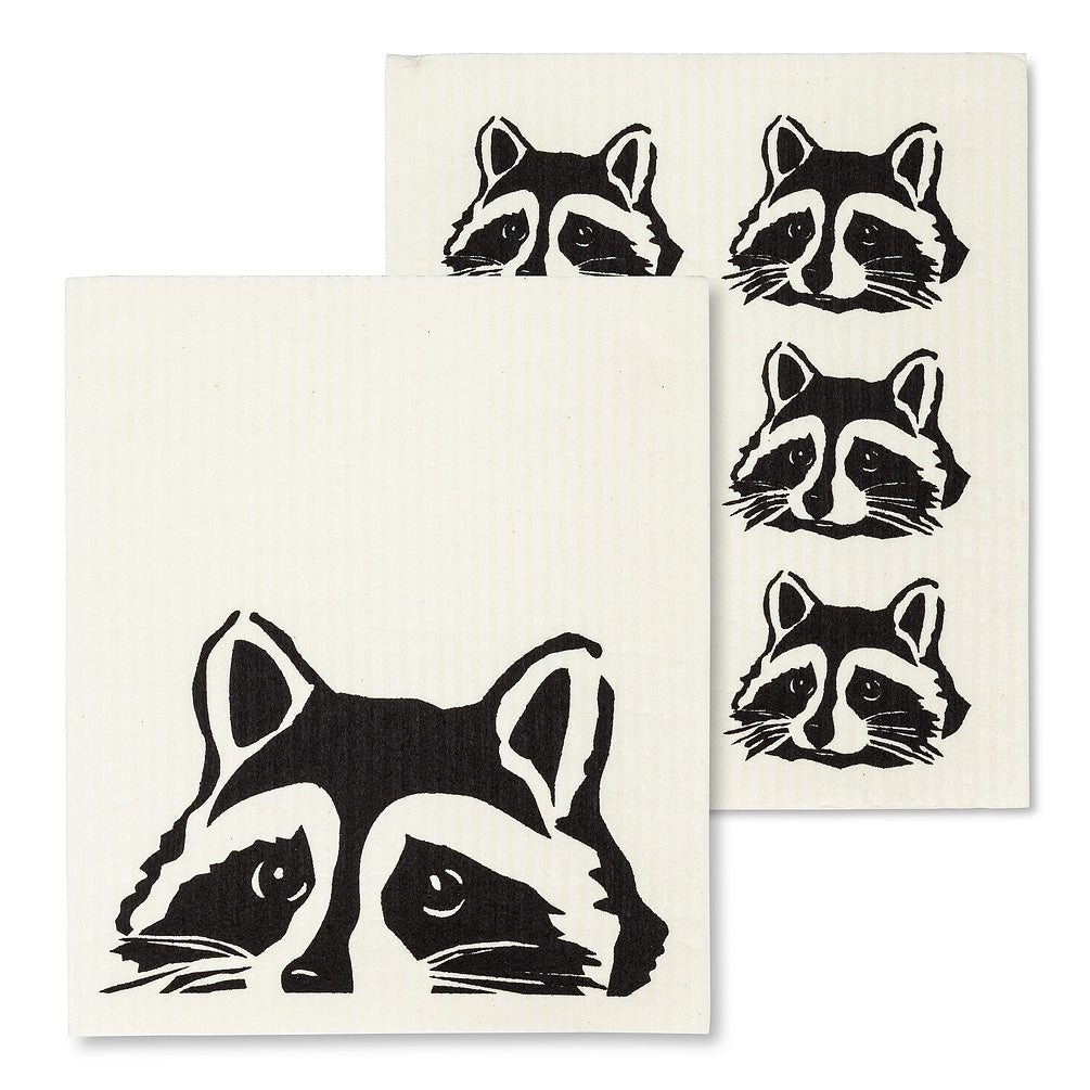 Peeking Raccoon Swedish Dish Cloth - set of 2  | Putti Fine Furnishings Canada