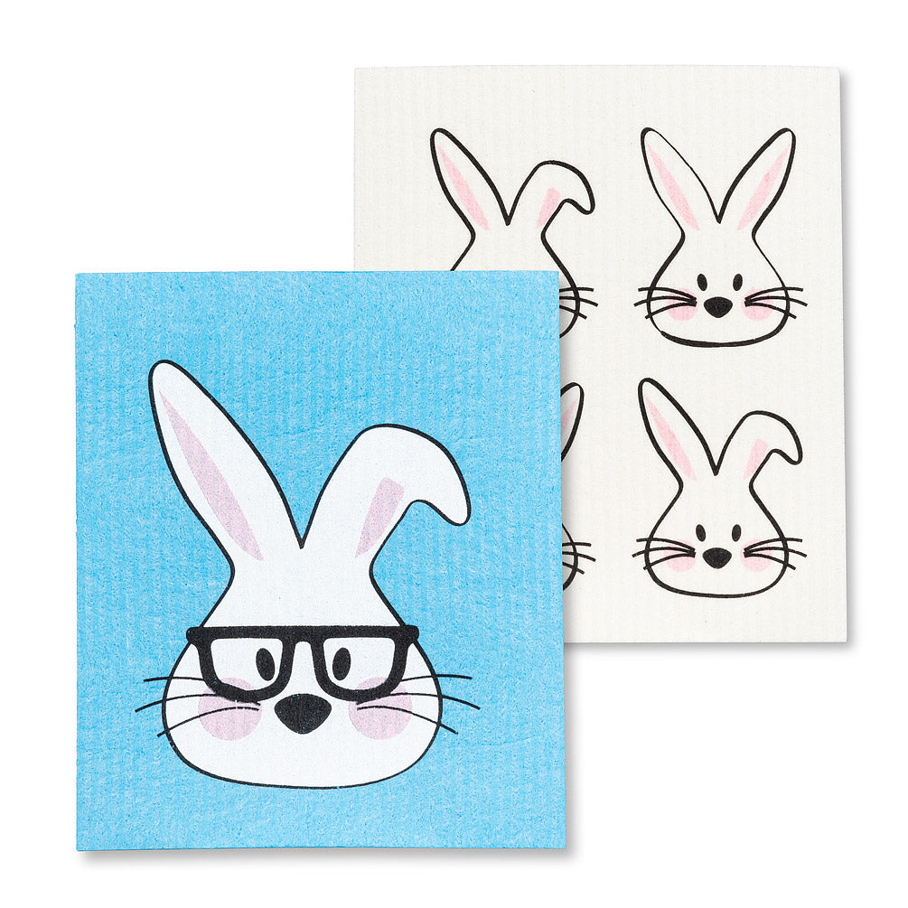 Rabbit with Glasses Swedish Dish Cloths-Set of 2 | Putti Fine Furnishings