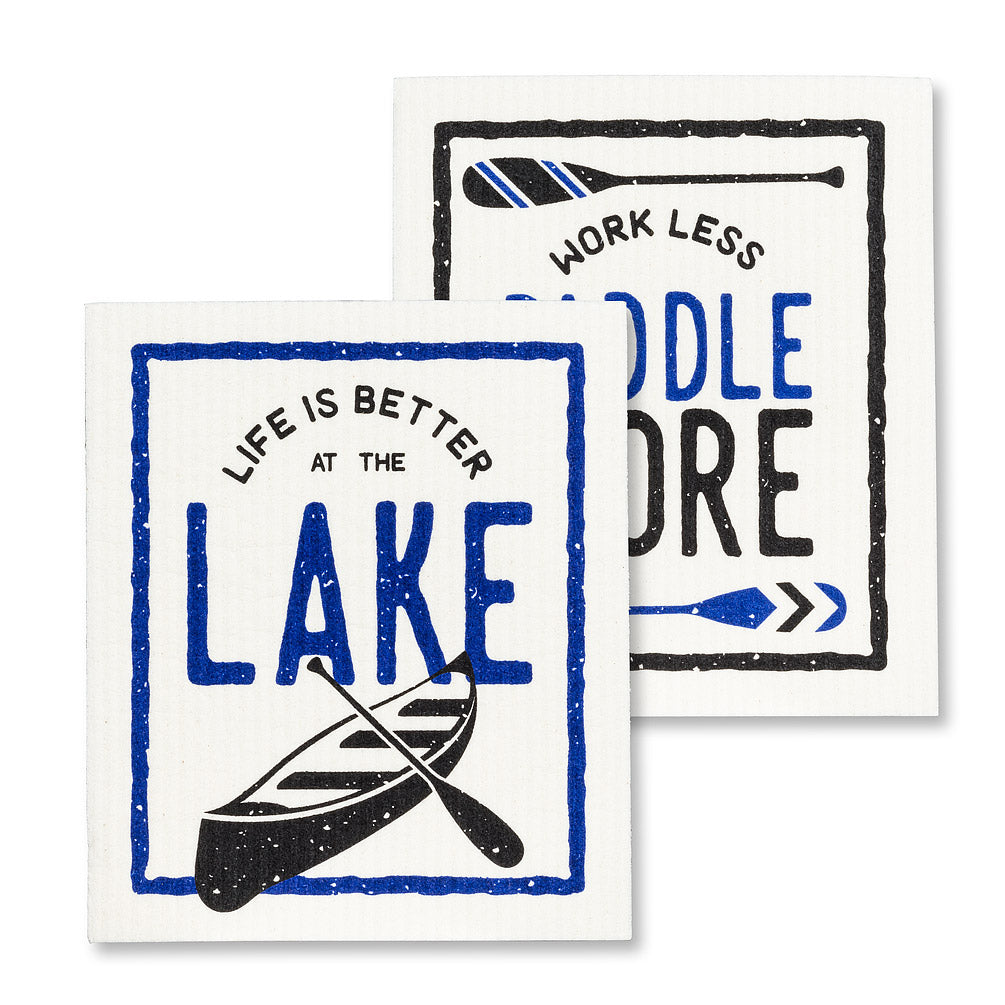 Better at the Lake Swedish Dish Cloths-Set of 2 | Putti Fine Furnishings